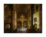 The Interior of a Protestant Church at Night Giclee Print by Anthonie de Lorme