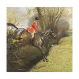Lt. Col. Ted Lyon Jumping a Hedge Giclee Print by Cecil Charles Windsor Aldin