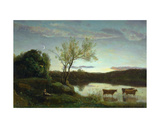 A Pond with Three Cows and a Crescent Moon, C.1850 Giclee Print by Jean-Baptiste-Camille Corot