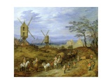 Landscape with Travellers Near Windmills Giclee Print by Jan the Younger Brueghel