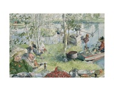 Crayfishing, from 'A Home' Series, C.1895 Giclée-trykk av Carl Larsson