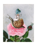 A Fairy Holding a Leaf, Sitting on a Snail Above a Rose, 1817-29 Giclee Print by Amelia Jane Murray