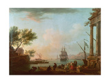 Sea Port, Sunrise, 1757 Giclée-Druck von Claude Joseph Vernet