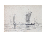 Sailing Boats on the Sea Giclee Print by Eugene Louis Boudin