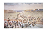 Mormon Handcart Pioneers Heading West to Utah in 1850 Giclee Print by William Henry Jackson