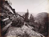 Central Pacific Railroad Train and Coaches in Yosemite Valley, 1861-69 Photographic Print by Carleton Emmons Watkins