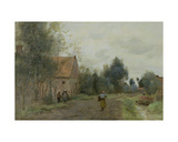 Sin Near Douai, Village Street in the Morning, Grey Weather, 1872 Giclee Print by Jean-Baptiste-Camille Corot
