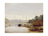 Boat Building Near Dinan, Brittany, C.1838 Giclee Print by Francis Danby
