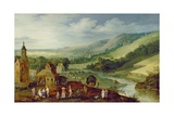 An Extensive River Landscape with Peasants Gathering the Harvest Giclee Print by  Joos de Momper and Jan Brueghel