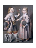 A Portrait of Two Children Giclee Print by Hendrick Munnichoven