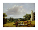 Loading a Timber Wagon at Cave Castle, Yorkshire, 1806 Giclee Print by George Arnald