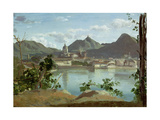 The Town and Lake Como, 1834 Giclee Print by Jean-Baptiste-Camille Corot