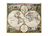 World Map (Nova Orbis Tabula) from 'Nicolass Visscher Atlas Minor' C.1719 Reproduction procédé giclée par Frederick de Wit