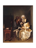 An Interior with a Couple and a Procuress: the Glass of Lemonade Giclee Print by Gerard Terborch