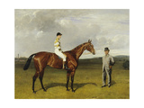 'Mimi' with Rickaby Up with Her Trainer, Mr Matthew Dawson, 1891 Giclee Print by Emil Adam
