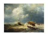 Ships in a Storm on the Dutch Coast, 1854 Giclee Print by Andreas Achenbach