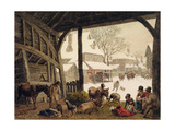A Village Snow Scene, 1819 Giclee Print by Robert Hills
