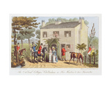 The Oakland Cottages, Cheltenham, or Fox Hunters and their Favourites, from 'The English Spy', by… Giclee Print by Isaac Robert Cruikshank