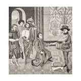 Charles, Eldest Son of Pepin Received News of the Death of His Father, Facsimile of a Miniature… Giclee Print