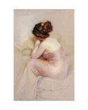 Study of Young Woman in a Satin Evening Dress Giclee Print by Gaston Bouy