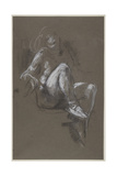 Seated Nude Girl Wearing Ballet Shoes Giclee Print by Henry Tonks