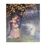 Woman Reading in a Garden Giclee Print by Marie Spartali Stillman