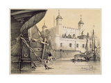 View of the Tower of London from the River Thames, C.1840 Giclee Print by Edmund Patten