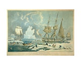 Northern Whale Fishery, Engraved by E. Duncan, 1829 Giclee Print by William John Huggins