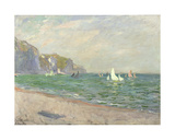 Boats Below the Cliffs at Pourville, 1882 Giclee Print by Claude Monet