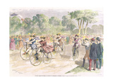 Original Costumes for the Velocipede Race in Bordeaux, 1868 Giclee Print by Godefroy Durand