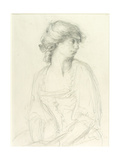 Half-Length Study of a Seated Girl Giclee Print by Henry Tonks