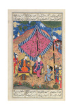 Ms D-184 Fol.203A the Tent of the Persian Army, Illustration from the 'shahnama' (Book of Kings),… Giclee Print