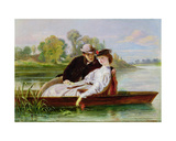 Lovers in a Punt Giclee Print by John-bagnold Burgess