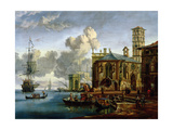 Capriccio of a Mediterranean Port Giclee Print by Abraham Storck