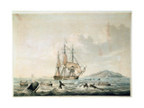 South Sea Whale Fishery, Engraved by T. Sutherland, 1825 Giclee Print by William John Huggins