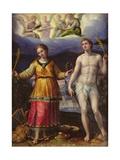 St.Sebastian and St.Cecilia Giclée-tryk af Lavinia Fontana