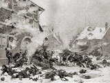 Fire Attack on a Barricaded House, Photogravure by Goupil and Company Photographic Print by Alphonse Marie de Neuville