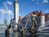 'Meeting of the Waters' Fountain by Carl Milles (1875-1955) in Front of Union Station, Aloe Plaza Photographic Print