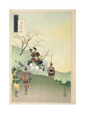 Yoshiie Ason: 'The Barrier at Nakoso', from the Series 'Gekko's Idle Brush', 1892 Giclee Print by Ogata Gekko