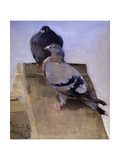 Pigeons on the Roof Giclee Print by Joseph Crawhall