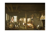 Milking in Winter Giclee Print by Jan van Gool