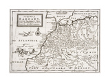 Map of the West Part of Barbary, C.1720 Giclee Print by Hermann Moll