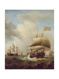 Shipping in a Choppy Sea, 1753 Giclee Print by Samuel Scott