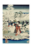 Maids in a Snow-Covered Garden, 1859 Giclee Print by  Utagawa Hiroshige and Kunisada