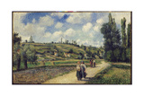 Landscape Near Pontoise, the Auvers Road, 1881 Reproduction procédé giclée par Camille Pissarro