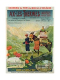 Poster Advertising the Ski Resort of Ax-Les-Thermes, France, C.1900 Lámina giclée