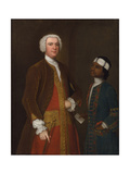 Portrait of a Gentleman with a Young Servant, Late 1730s Giclee Print by Charles Philips