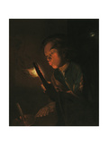 A Boy Blowing on an Ember, 1690s Giclee Print by Godfried Schalken Or Schalcken