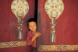 Young Initiate Outside Main Door of Pemyangtse Monastery Photographic Print