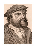 Hans Holbein the Younger, Illustration from '75 Portraits of Celebrated Painters from Authentic… Giclee Print by James Girtin